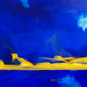 Bernd Zimmer Vulcano 1999 blau gelbe Landschaft