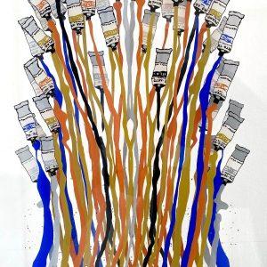 Fernandez Arman Tubetti Plastik Farbtuben auf Plexiglas