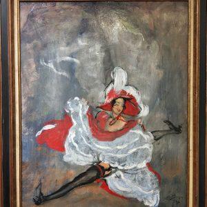 Jean-Gabriel Domergue Grand Ecart Taenzerin Spagat rotes Kleid