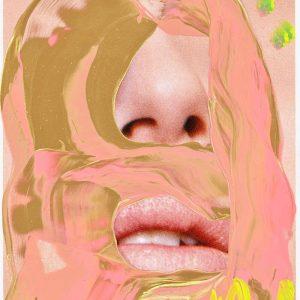Jonathan Meese Erzteddy Lippen Nase übermalt rosa und gold