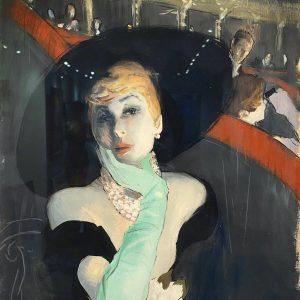 Rene Gruau Donna in teatro Frau im Theater lange Handschuhe, Hut, Perlenschmuck
