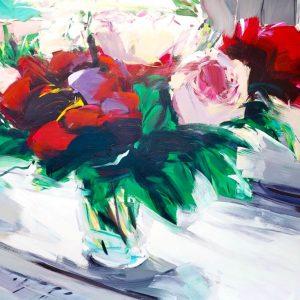 Alireza Varzandeh Fensterbank Blumen Rosen Stillleben