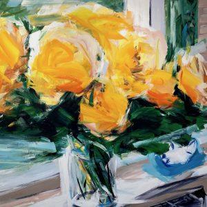 Alireza Varzandeh gelber Blumenstrauss auf Fensterbank Sommer Licht Wecker